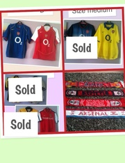 Arsenal shirts and scarfs